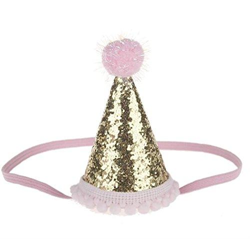 Goodscene Kids Hair Decoration Accessories Tapered Hat Head Decorations Baby Hair Decorations for Birthday (Pink+Golden) ()
