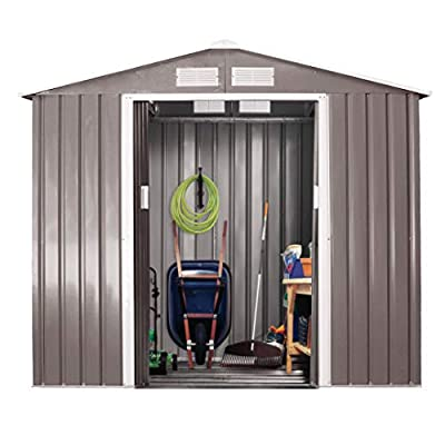 7' x 4' Garden Storage Shed, Steel Outdoor Storage Shed for Garden Utility Tool Backyard Lawn with Sliding Doors & Roof (Grey + White)