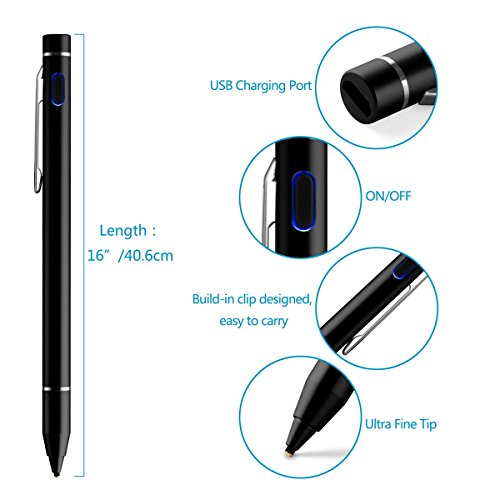 E-SDS Active Stylus Pen,Rechargeable Capacitive Stylus for Touch Screen Devices Tablet/Smartphone/Laptop - Black by E-SDS (Image #1)