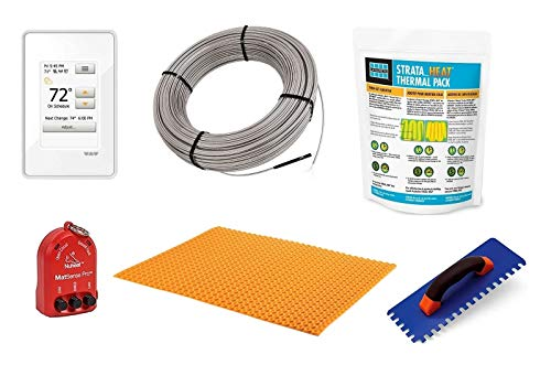 Schluter Ditra Signature Floor Heating Kit -51 Square Feet- Includes Touchscreen Programmable Thermostat, Heat Membrane, Heat Cable DHEHK12051, Safe Installation Tools, Heat Enhancing Additive
