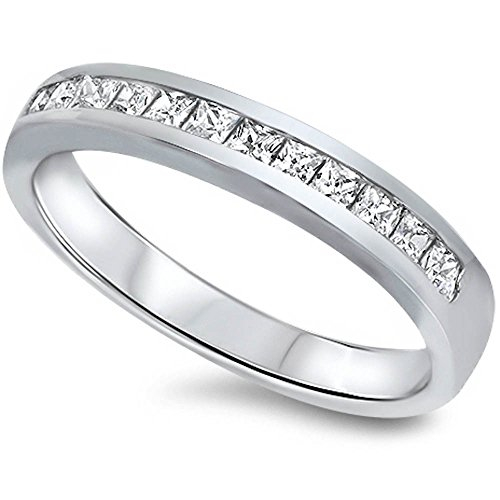 Cz Set Wedding Band .925 Sterling Silver Ring Size 6 ()
