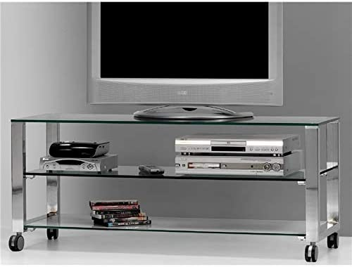 Mesa de Televisión Cristal con Patas cromadas Aremi 125 cm: Amazon ...