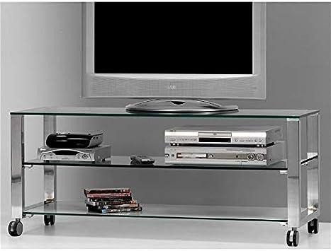 Mesa de Televisión Cristal con Patas cromadas Aremi 125 cm: Amazon.es: Hogar