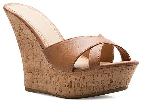OLIVIA K Women's Open Toe High Wedge Platform Heel Wood Decoration Flip Flop Slipper Shoes Sandals ()