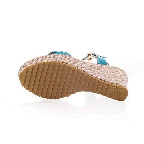 BalaMasa Girls Cross Weaving Open-Toe Soft Material Sandals Blue vqnjh
