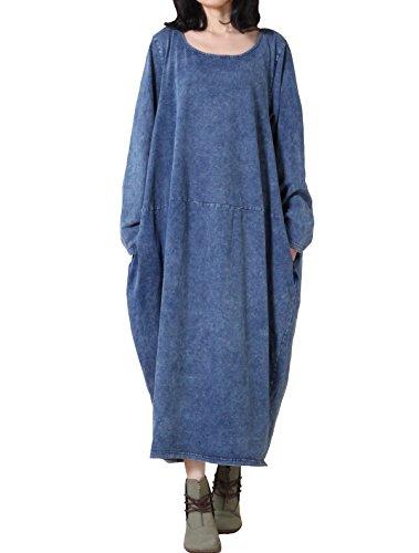 Vogstyle - Vestido - vestido - para mujer Art 1 Blau-Langarm