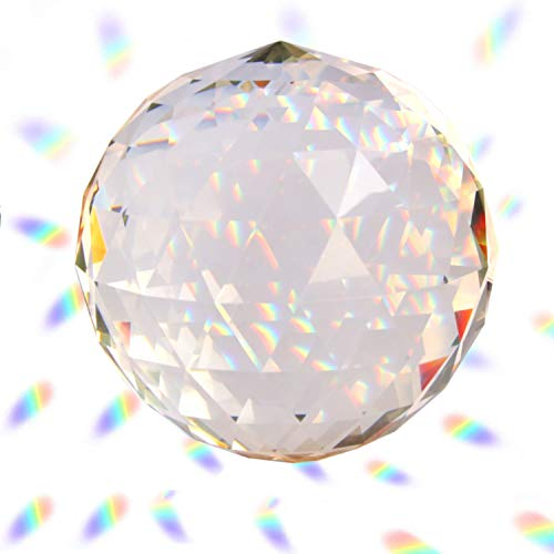 Together-life Clear Cut Crystal Ball Prisms Glass Sphere Faceted Gazing Ball for Home Décor, Suncatcher (120mm/4.72in) (Balls Decor Home Glass)