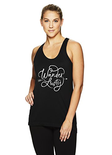 Fiona Tank - Gaiam Women's Graphic Active Crewneck Tank Top - Yoga Shirt for Women - Black - Fiona, Large