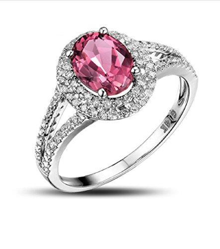 GOWE 14K White Gold Natural 1.82ctw Pink Tourmaline & Diamond Engagement Ring 0