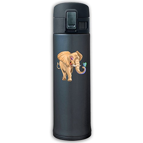 Stainless Steel Mug Brown Elephant Bouncing Cover Insulation Vacuum Cup Bottle Thermos Travel Mug Navy