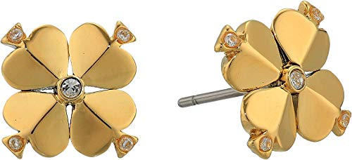 Kate Spade New York Legacy Logo Spade Flower Studs Earrings Clear/Gold One Size