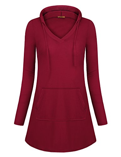 MCKOL Long Sleeve Hooded T Shirt Women, Ladies Solid Color Drawstring Casual Pullover Lightweight Sweatshirts Tunic Tops with Pocket(Wine,Medium) (Top Tunic Hooded)