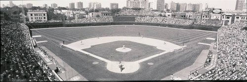 Walls 360 Peel & Stick Baseball Stadium Wall Mural: Wrigley Field BW (36 in x 12 in)