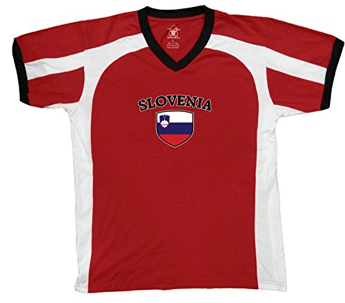 fan products of Slovenia Flag and Shield Men's Soccer Style Sport T-Shirt, Amdesco, Red/White/Black XL