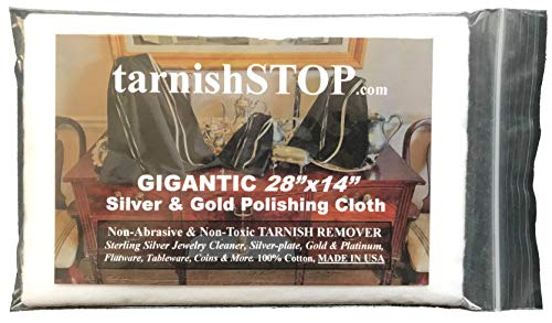 Gigantic 28″x14″ Silver Polishing Cloth, Tarnish Remover & Jewelry Cleaner. ALL Treated Fabric. Gold, Platinum, Sterling, Plated, Tableware, Flatware, Coins, Non-Abrasive, Non-Toxic & Un-Scented…USA