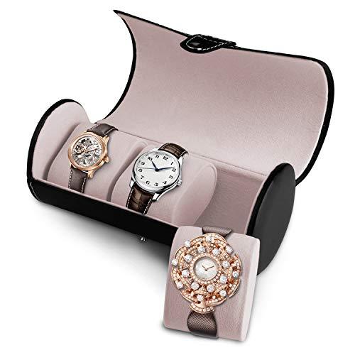 zenic Travel Watch Case Organizer for Men and Women, 3 Slots Roll Watch Box Jewelry Box (3 Slots-Black)