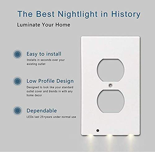 Outlet Wall Plate With Led Night Lights - 4 pack Duplex - Build on Sensor Nights Light - Electrical cover Plates Nightlight - Covers Plate Energy Efficient nightlights by Smart Outlet (Image #2)
