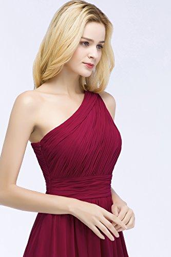 Linie Schulter Chiffonkleid Elegant Misshow Ein Lang Brautjungfernkleid Hochzeitskleid Damen A Weinrot gwRgqX0Ox