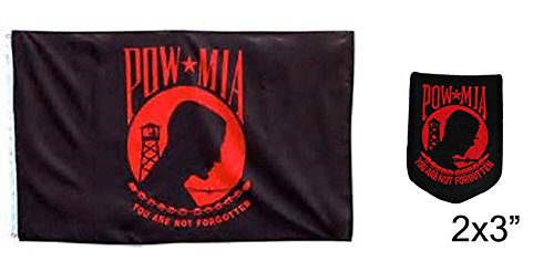 AES Wholesale Combo Set POWMIA POW MIA RED 3x5 3'x5' Flag and 3
