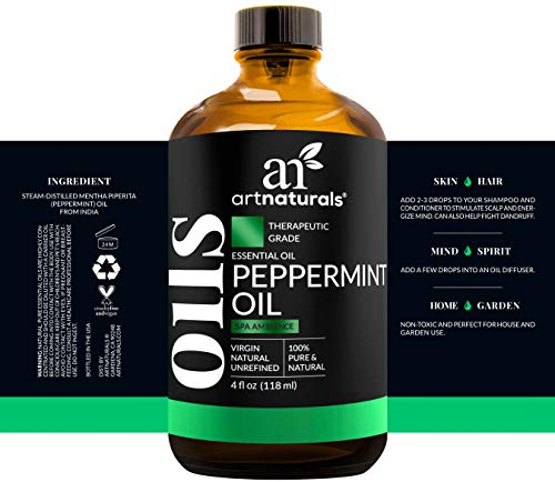 ArtNaturals Peppermint Essential Oil 4 oz -100% Pure and Natural Premium Therapeutic Grade Mentha Peperita - Best Fresh Scent for Home & Work, Perfect for Aromatherapy, Relaxation, Skin Therapy by ArtNaturals (Image #1)