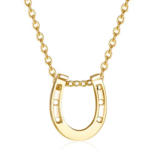 Gold Horseshoes Chain (USA Annabel 18K Gold Tiny Horseshoe Necklace- Adjustable Cubic Zirconia Dainty Chain Hypoallergetic Necklace for Women)