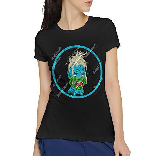 (CLANN Women's Blueface Blue Shark's Mouth Casual Short Sleeve Art T-Shirt Cotton Blouse Tees XXL)