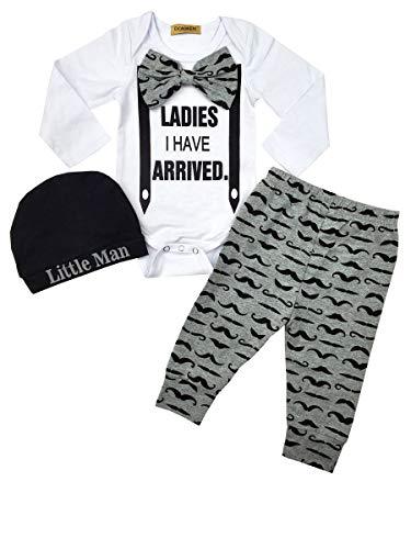 Newborn Baby Boy Clothes Hipster Bowtie Strap Long Sleeve Bodysuit +Moustache Pants+Hat 3Pcs Outfits Set 0-3 -