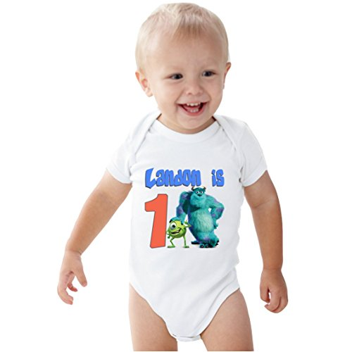 [NanyCrafts Baby's Monsters Inc Birthday Boy PERSONALIZED baby bodysuit 18M White] (Baby In Monsters Inc)