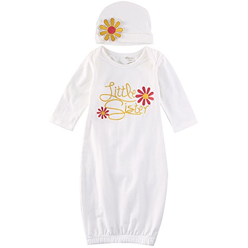 ONE'S Newborn Baby Girls Floral Embroidery Cotton Little Sister Coming Home Sleep Romper Gown With Hat (0-3 Months, Pink) (Home Gown Take)