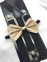 Scott Allah design - Champagne Gold Bow Tie And Suspender Matching Set Tuxedo Wedding Accessories
