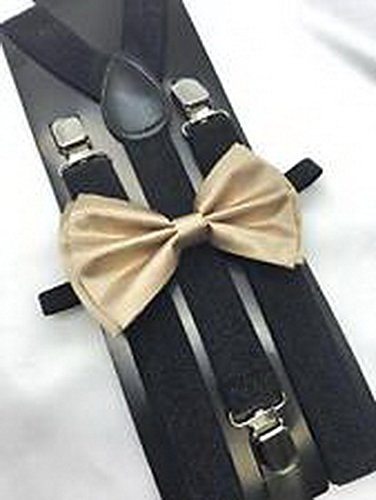 Scott Allah design - Champagne Gold Bow Tie And Suspender Matching Set Tuxedo Wedding Accessories (Tuxedo Playboy Bunny Costume)