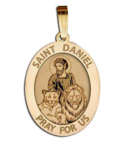 Saint Daniel OVAL Religious Medal - 2/3 X 3/4 Inch Size of Nickel, Solid 14K Yellow Gold
