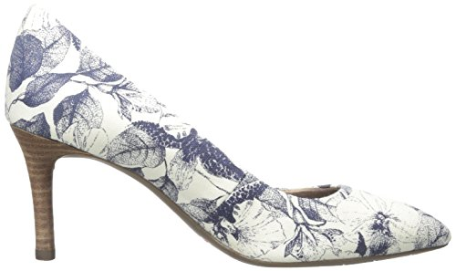 Rockport TOTAL MOTION 75 MM Pointy Toe Bomba de vestido de la mujer Blue Floral Canvas