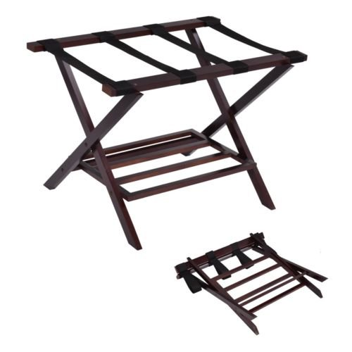 Folding Luggage Rack Suitcase Shoe Storage Holder Wood Stand Hotel Passenger