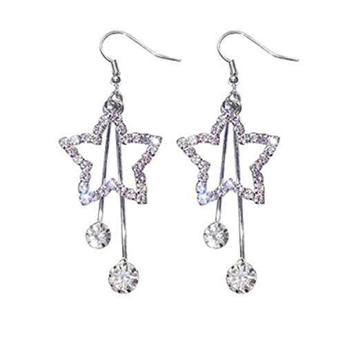 Five Pointed Star Earrings Long Star Stud Earrings Dangle Earrings Hook ()