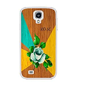 Unique Geometric Design Hard Protective Skin Case Cover for Samsung Galaxy S4 I9500 ,Wood Pattern Print Cell Phone Case (green rose white ju5241)
