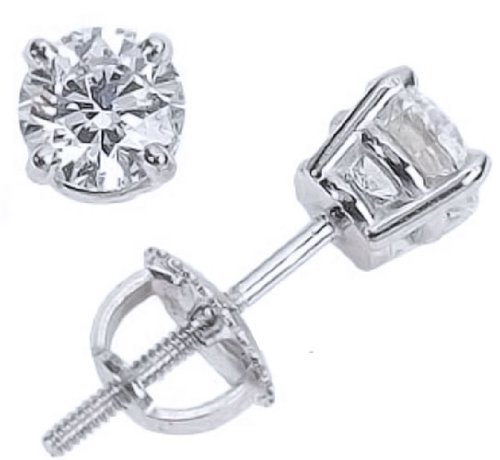 2 Carat 14K White Gold Solitaire Diamond Stud Earrings Round Cut 4 Prong Screw Back I-J Color, I1-I2 Clarity