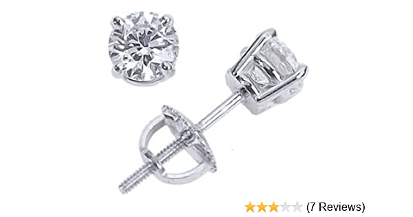 9983a145f Amazon.com: 1/4 Carat 14K White Gold Screw Back Diamond Stud Earrings Value  Collection (I-J I1-I2): Jewelry