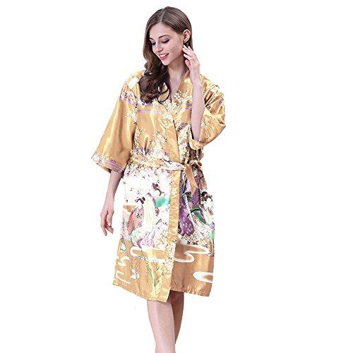 Gold Japanese Kimono (Tana Silky Satin Japanese Floral Kimono Robe (Gold Japanese Kimono Robe))