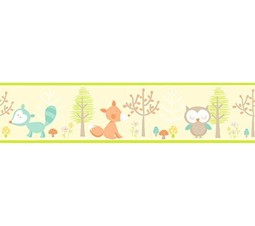 Brewster 2679-50116 Kids Happy Forest Friends Yellow Border