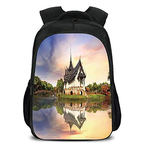 15.7'' School Backpack,Asian,House Formed Old Majestic Temple Over Lake Designed for Praying Religion Reflection Photo,Multi,for Teenagers Girls Boys by iPrint