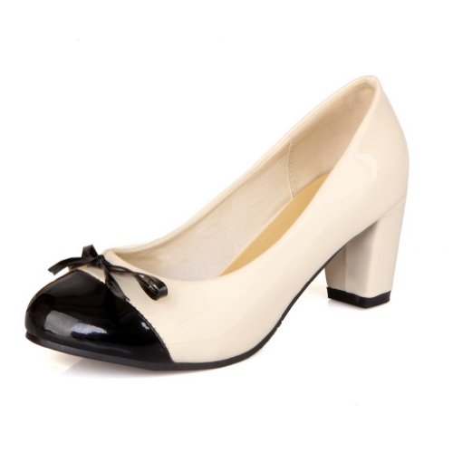 VogueZone009 Girls Closed Round Toe Kitten Heel Patent Leather PU Solid Pumps with Bowknot Beige Hq8xr