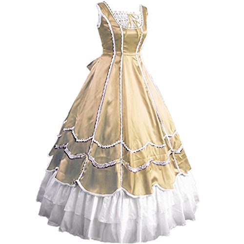 Partiss Womens Ruffles Gothic Prom Masquerade Wedding Dress,M,Champagne