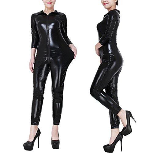 Plus Size Cat Suit (LAFIZZLE Sexy Plus Size S-7XL Pvc Black Woman Latex Bodysuit Crotchless Catsuit Jumpsuit Faux Leather Costume (6xl))