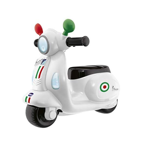 Chicco Vespa per Bambini Primavera Bianca, Moto Giocattolo Cavalcabile con Pannello Elettronico, Luci e Suoni, Ruote di… 1