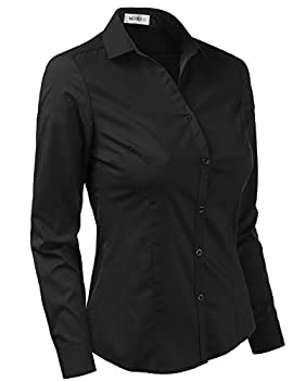 Doublju Womens Slim Fit Plain Classic Long Sleeve Button Down Collar Shirt Blouse Black Large 1