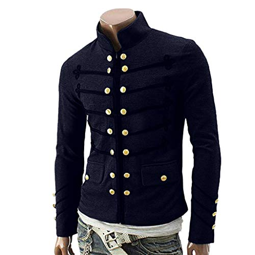 Mens Vintage Jacket Long Sleeve Button Goth Steampunk Formal Gothic Victorian Frock Coat Costume Praty Outwear Fineser