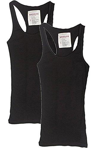 Zenana Fashiondio 4 Packs or 2 Packs Womens Basic Ribbed Racerback Tank Top (Small, Black/Black) (Tank Long Rib)