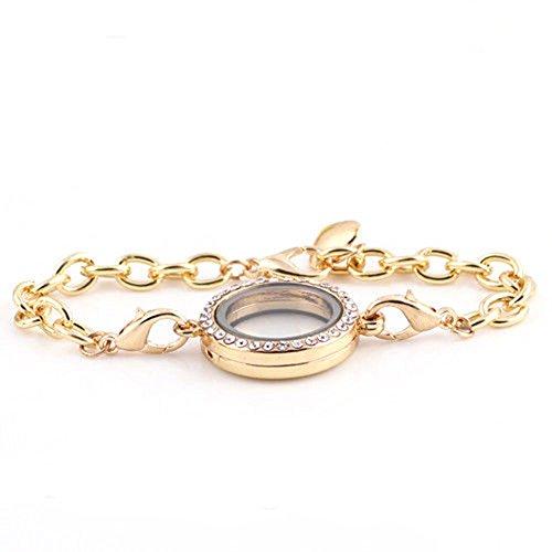Broadfashion Magnetic Crystal Living Memory Locket Bracelet for Floating Charms Gift (Gold)
