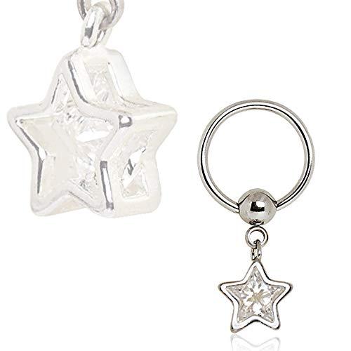 316L Stainless Steel Captive CZ Star Dangle Captive Bead Ring Nipple Jewelry
